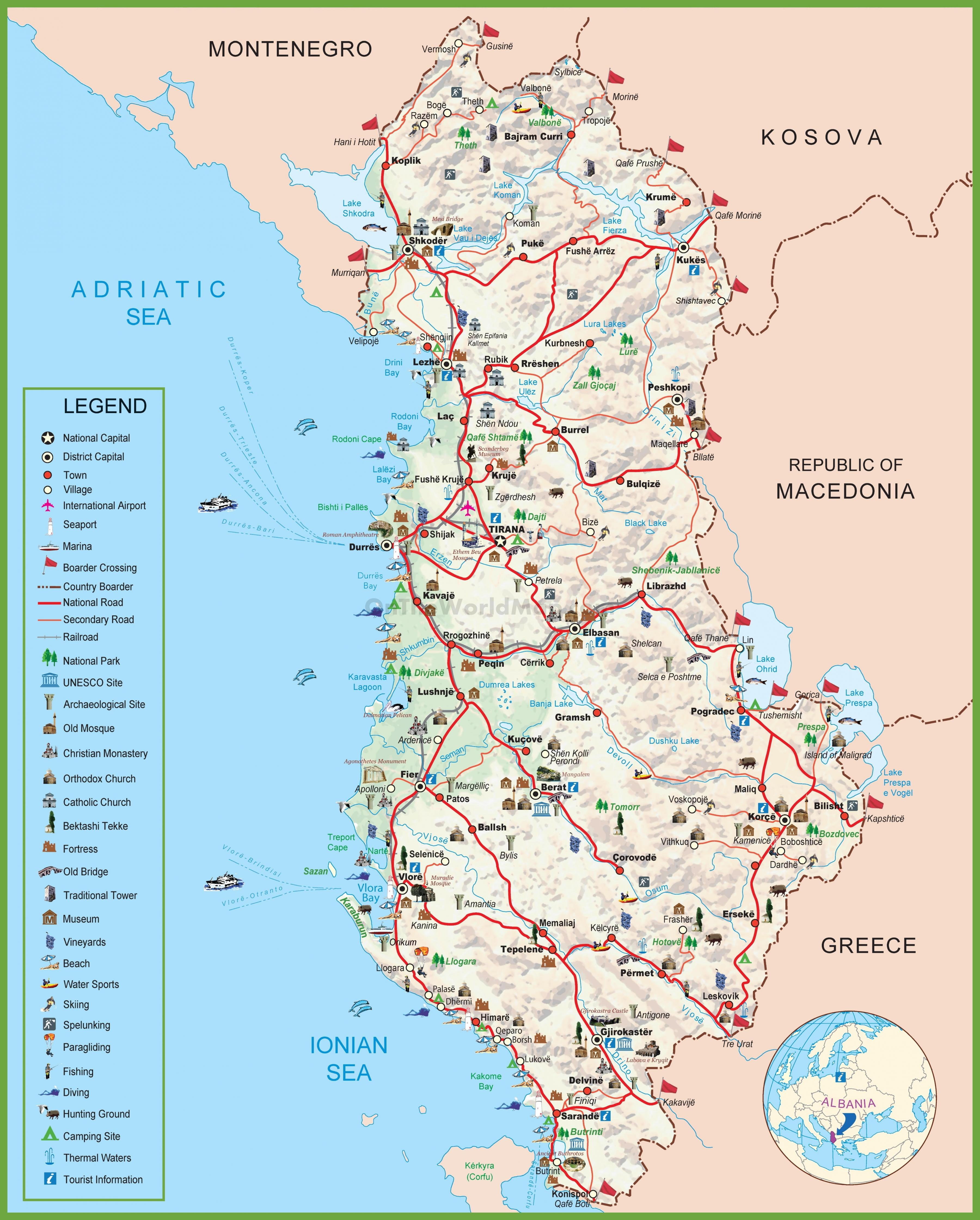albania kart Kart av Albania   Kart shqiperia Albania (Sør Europa   Europa) albania kart