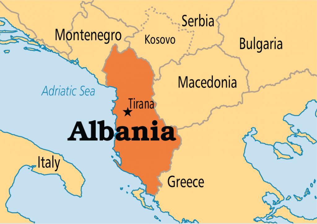 kart over albania Tirana i Albania kart   Kart over tirana i Albania (Sør Europa  kart over albania