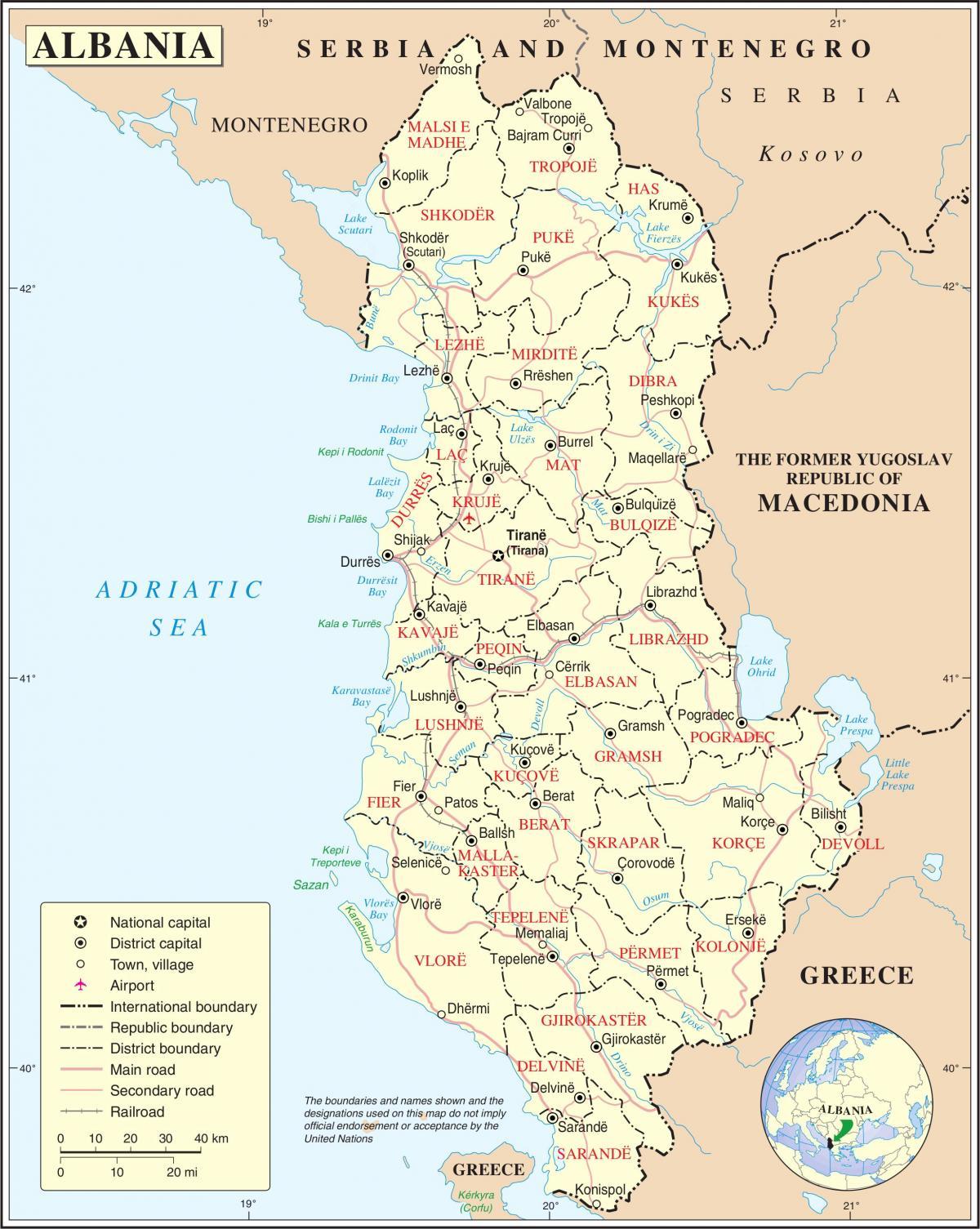 albania kart Albania kart byer   Kart over Albania med byer (Sør Europa   Europa) albania kart